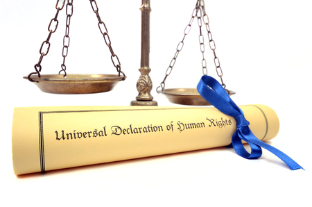 declaration: Scales of justice and The Universal Declaration of Human Rights, Human rights concept, isolated.