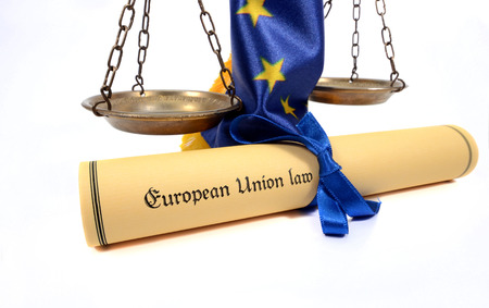 European union law , scales of Justice,  European union flag , isolated  on the white background.