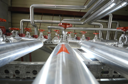 Industry oil and gas pipes, concept of industry systems, steel pipelines.