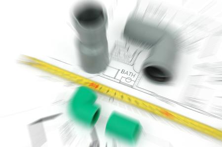 pezones: plumbing plans and plumbing material, plumbing fittings bathroom renovation concept Foto de archivo