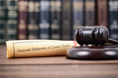 Law and Justice, Legality concept, Judge Gavel and Universal Declaration of Human Rights.