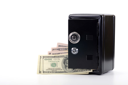 Saving your money , steel safe with money, over white background, money insurance concept