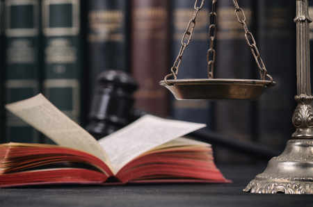 Law and Justice, Legality concept, Scales of Justice , law book and Judge Gavel on a black wooden background.