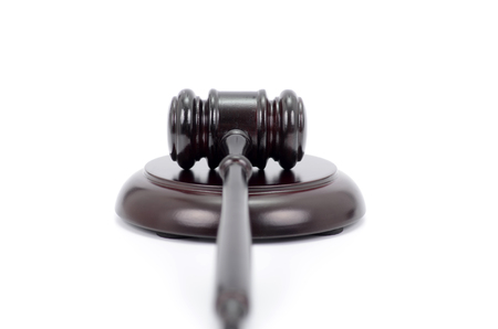 Law and Justice, Legality concept, Judge Gavel isolated on a white background.