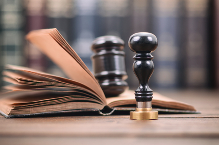 Notary seal , Judge Gavel, Notarized document concept, Legality concept.