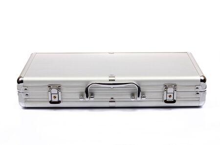 Metallic suitcase on white background, metalic briefcase