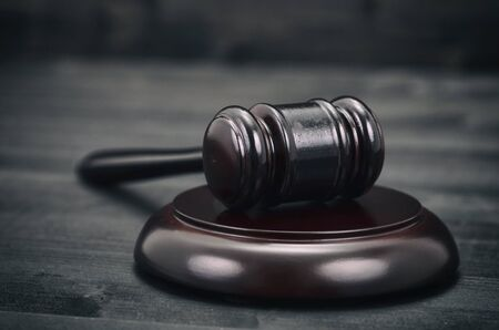 Law and Justice, Legality concept, Judge Gavel on a black wooden Standard-Bild