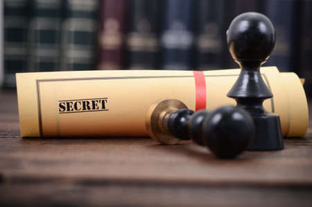 Notary seals , Notarized document concept, Secret files , Secret type of documents.