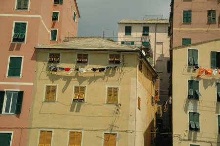 Old Italian building details , Old City , Genoa ,Genova Italy Standard-Bild