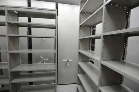 Empty archive storage room, archive concept