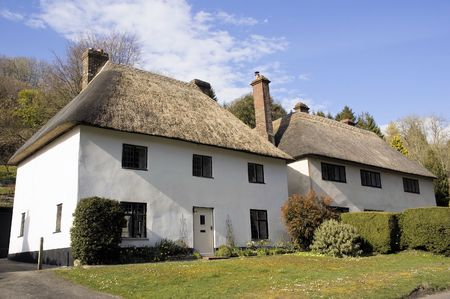 thatched: Thatched Cottages Stock Photo