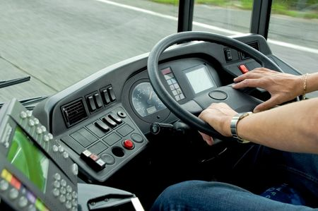 Bus Driving Stock Photo
