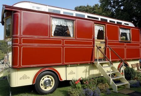 Restored travellers caravan Stock Photo