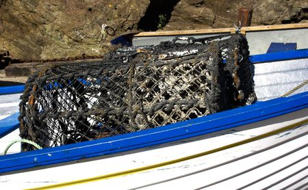 lobster pots: Robust Grunge Lobster Pots on small boat