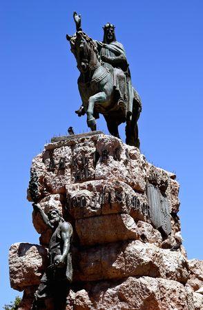 palma: Bold Statue of King Juame in Palma Majorca Stock Photo