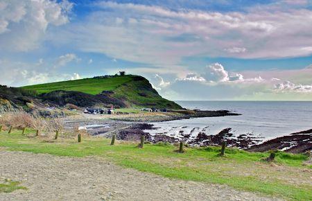 Scenic view of Kimmeridge bay  in Dorset photo