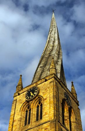 The twisted spire of St Mary all Saints church in Chesterfield Derbyshire