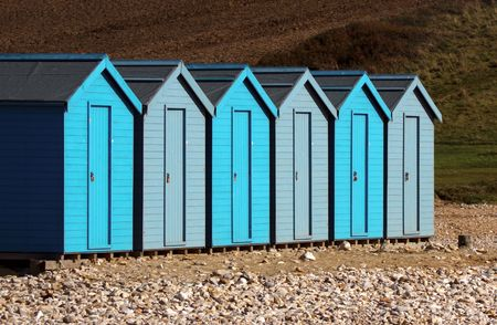Row of Beach Huts uniformed at Charmouth Dorset, Uk Stock Photo - 5919250