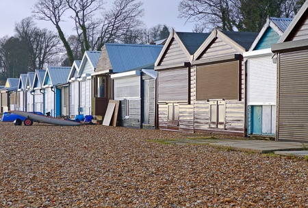 hampshire: Beach huts for Maintanance during winter months at Calshot, Hampshire UK