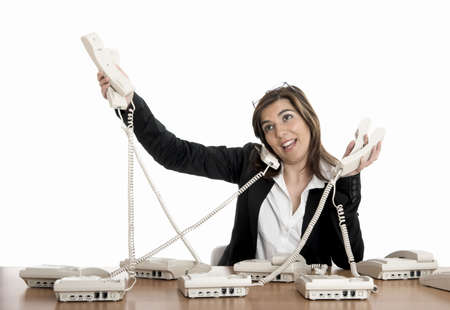 call center female: Busy woman working and answering a lot of calls at the same time Stock Photo