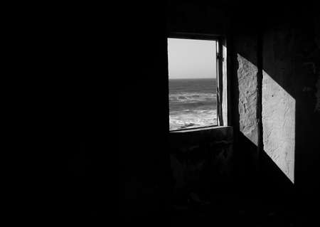 white window: Black and White window Stock Photo