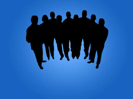 bond: Business team silhouete in blue background Stock Photo