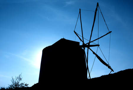 Windmill silhouette photo
