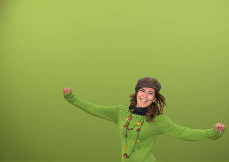 Beautiful woman in a green background Stock Photo - 365816