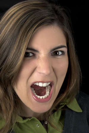 atractive: Young atractive woman yelling
