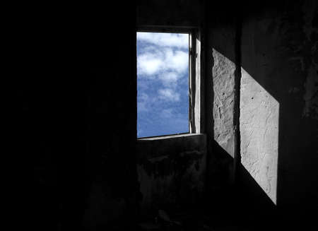 a window on the world: Open window for a new world Stock Photo