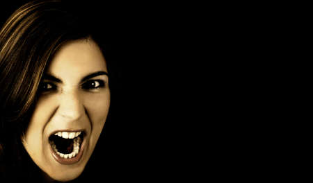 woman screaming: Young woman Screaming