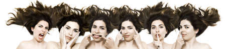 croud: Making funny faces - same woman in six shots mixed in PS Stock Photo