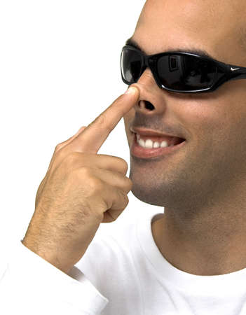 Man Touch the nose with the finger Stock Photo - 407907