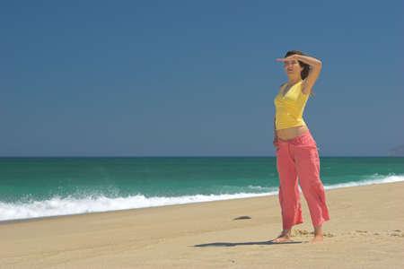 Beautiful woman in the beach photo