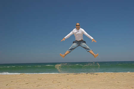 Man jumping on the beach Stock Photo - 433222