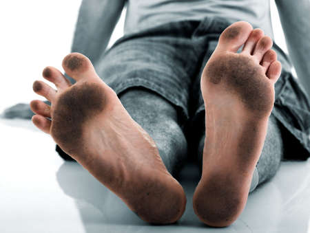 Funny dirty feet photo