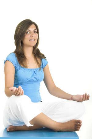 Beautiful woman meditating photo