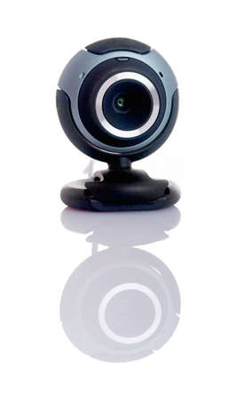 msn: Digital webcam in a white background with reflection Stock Photo