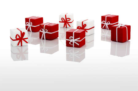 Christmas season! Small gift boxes with reflection Stock Photo