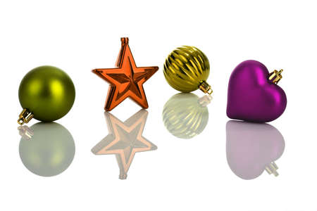 Photo of multicolored Christmas ornaments with reflection photo
