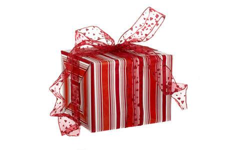 Christmas season! Beautiful red gift box isolated on white background Stock Photo - 662019