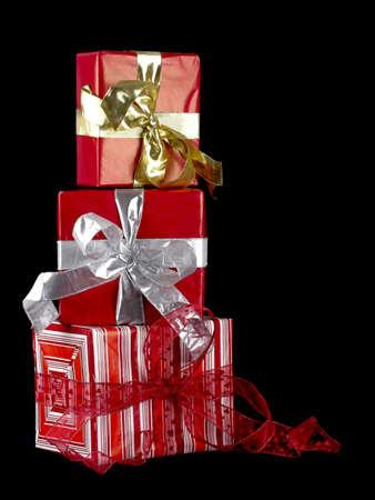 black backgound: Christmas season! Beautiful Gift boxes isolated on black backgound Stock Photo