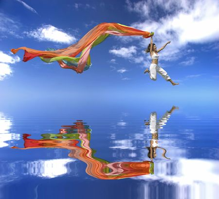Beautiful woman jumping with a Scarf over a beautiful blue sky with clouds Stock Photo - 836628