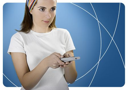 enhanced: Woman with a remote control over a blue background created in PS