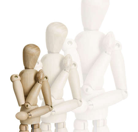 proportions of man: Picture collage of four wooden marionettes on a white background