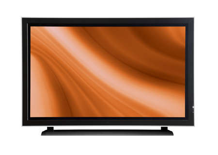 Plasma lcd tv on a white beackground with a orange abstract design Stock Photo