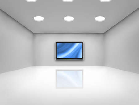 Open space with a plasma tv on the wall reflected on the floor  Stock Photo