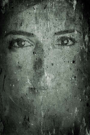 Background made with old textured paper with a female face Stock Photo - 2155710