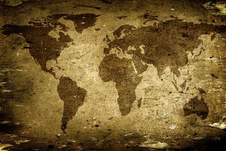 wall maps: Antecedentes de edad con textura de papel con un mapa del mundo  Foto de archivo
