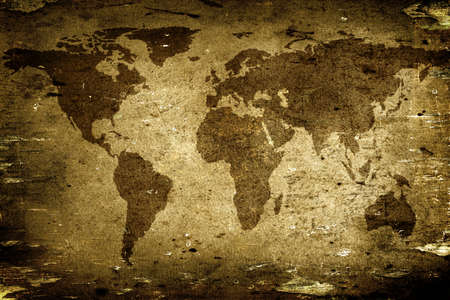 artistic: Background made with old textured paper with a world map